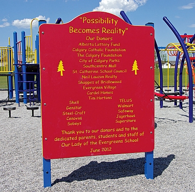 Donor Recognition West Dalhousie Playground Revitalization